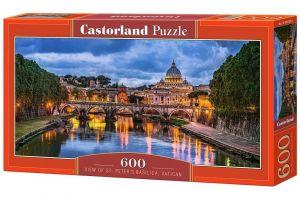 Puzzle Castorland 600 dílků panorama  - Bazilika svatého Petra Vatikán   060054