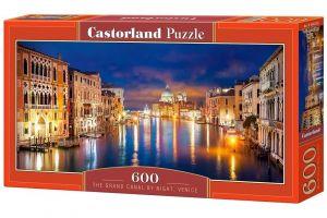Puzzle Castorland 600 dílků panorama  -  Canal Grande v noci Benátky 060245
