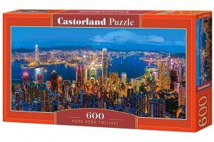 Puzzle Castorland 600 dílků panorama  - Hong Kong za soumraku   060290