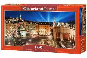 Puzzle Castorland 600 dílků panorama  -   Krakovský rynek v noci  060306
