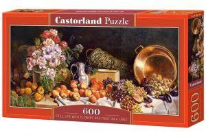 Puzzle Castorland 600 dílků panorama  -  Květiny a ovoce na stole  060108