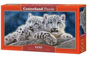 Puzzle Castorland 600 dílků panorama  - Mláďata leoparda sněžného  060115