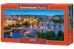Puzzle Castorland 600 dílků panorama  -  Noční Praha   060061