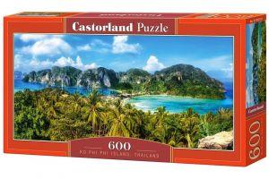 Puzzle Castorland 600 dílků panorama  - Ostrov Ko Phi Phi Thajsko  060207