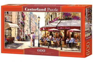 Puzzle Castorland 600 dílků panorama  - R. Manceil - Milenci v Paříži   060085