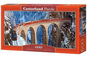 Puzzle Castorland 600 dílků panorama  -  Viadukt Landwasser Švýcarsko   060016