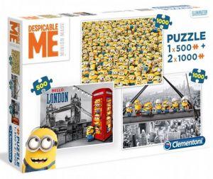Puzzle Clementoni 2 x 1000 + 1 x 500 dílků Mimoni - Minions  08105