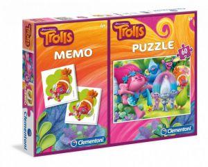 Puzzle Clementoni 60  dílků + Memos ( pexeso ) - Trolové   07914