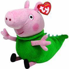 TY Beanie Babies - Peppa Pig - prasátko Pepina -  Tom v oblečku dinosaura  - 15 cm plyšák - plyšová