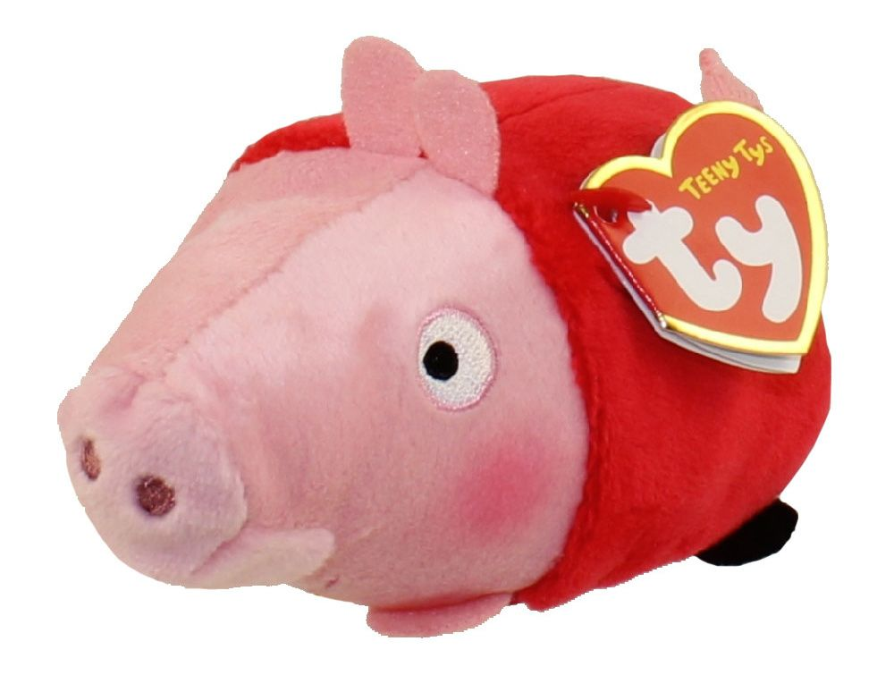 TY Teeny Tys - Peppa Pig - prasátko Pepina - Peppa ležící - 10 cm plyšák - plyšová hračka TY Inc. ( Meteor )