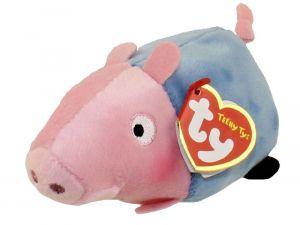 TY Teeny Tys - Peppa Pig - prasátko Pepina - Tomík ležící  - 10 cm plyšák - plyšová  hračka