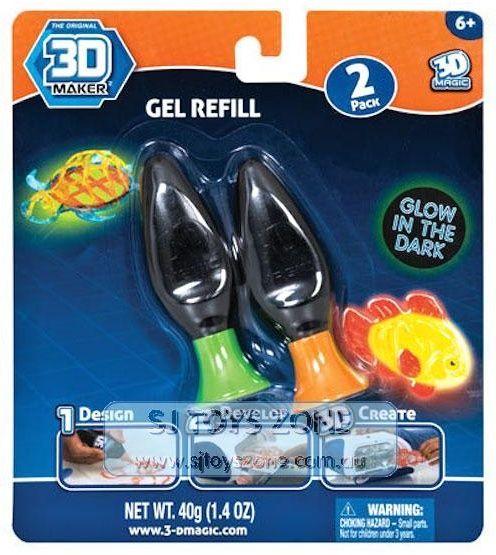 3D Magic náhradní náplň 2 ks - svítící ve tmě zelená + oranžová Epee a EP Line