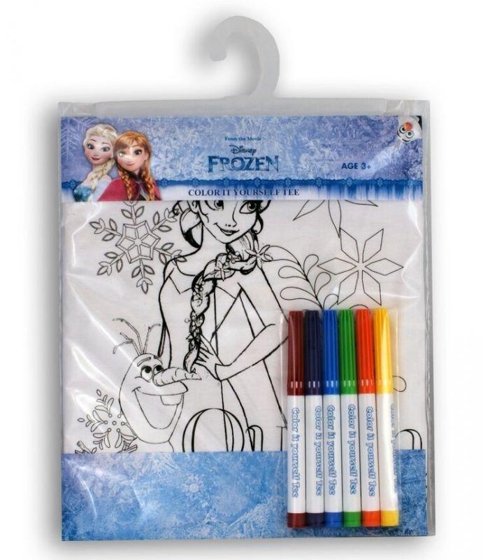 Tričko k vymalování Shellbag - Frozen - Elsa a Olaf na 3 - 4 roky