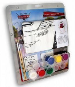 Tričko k vymalování Shellbag  s barvičkami  - CARS  -  na  3 - 4 roky