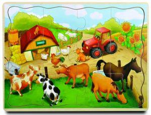 Brimarex - Dřevěné puzzle - 12 dílků  farma  II  30 x 22,5  cm   1577139