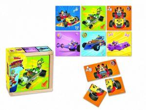 Dřevěná skládačka  ze 4 ks ( 6 obrázků )  v dřevěné krabičce   Mickey - Roadster