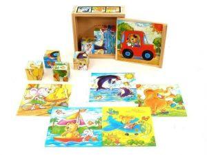 Dřevěné obrázkové  kostky -  Zvířátka na cestách   - 9 ks kubus v dřevěné krabičce