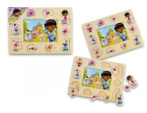 Dřevěné puzzle 6 dílků + vkládačka  s úchyty  10 dílků -  30 x 22 cm -  Doktorka plyšáková