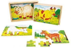 Dřevěné puzzle Brimarex  4 kusy po 12 dílků  v dřevěné krabičce  - domácí zvířata