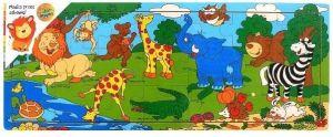 Dřěvěné puzzle Brimarex - Playme - 21 dílků - divoká zvířata 45 x 18 cm