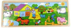 Dřěvěné puzzle Brimarex - Playme - 21 dílků - farma  45 x 18 cm