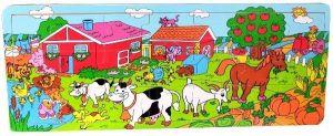 Dřěvěné puzzle Brimarex - Playme - 21 dílků - farma II  45 x 18 cm
