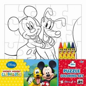 Jiri Models Omalovánky puzzle s voskovkami Mickeyho klubík