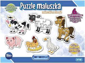 puzzle ARTYK - pro nejmenší 3 x 4 + 3 x 2 dílky - zvířátka z farmy 129926