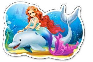 Puzzle Castorland 15 dílků MAXI - Malá mořská víla s delfínem   015160