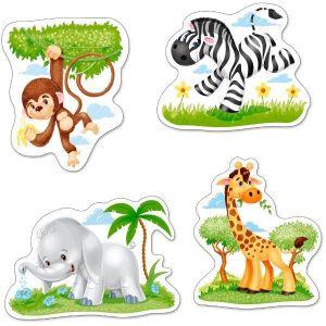 Puzzle Castorland 4v1 = 3-9 dílků  Africká zvířata  005017
