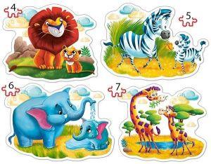 Puzzle Castorland 4v1 = 4-7 dílků  Africká zvířatka   04454