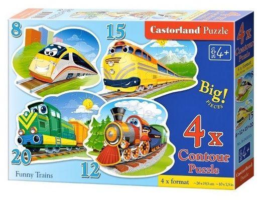 Puzzle Castorland 4v1 = 8-20 dílků Legrační vlaky 043033
