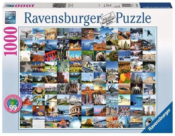 Puzzle Ravensburger 1000 dílků - 99 nádherných a Kanadě míst v USA 197095