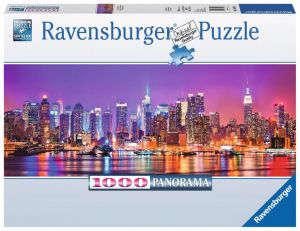 Puzzle Ravensburger 1000 dílků  panorama -  Manhattan v noci  150786