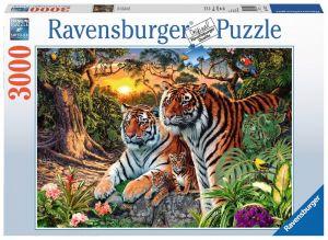 puzzle Ravensburger  3000 dílků -  Tygří rodina   170722
