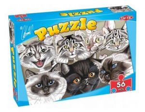 puzzle TACTIC - 56 dílků - karikatůry psů a koček - kočky A