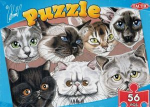 puzzle TACTIC - 56 dílků - karikatůry psů a koček - kočky B
