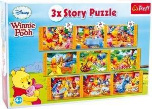 puzzle Trefl  3 x Story  - Dlouhý příběh - Medvídek Pů  90304