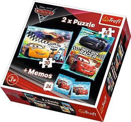 Puzzle Trefl 30 + 48 dílků + hra Memos ( pexeso ) CARS 3 90706