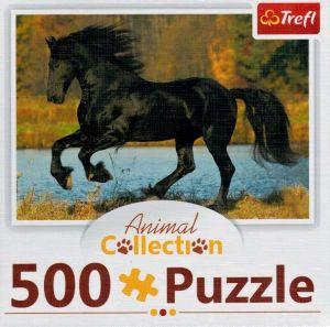 Puzzle Trefl  500 dílků  - Animal Coll. - Černý kůň   91539