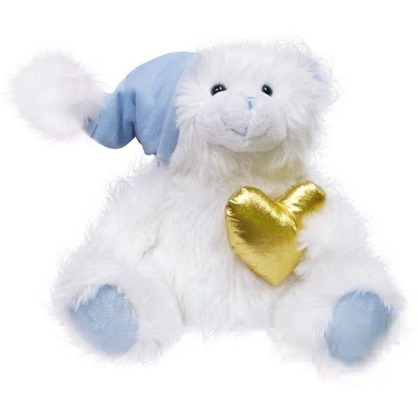 BEPPE - Medvídek 25 cm bílý se zlatým srdíčkem 10135