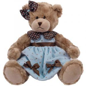 BEPPE -  Medvídek Daizy 33 cm v modrých puntíkovaných šatech  12973