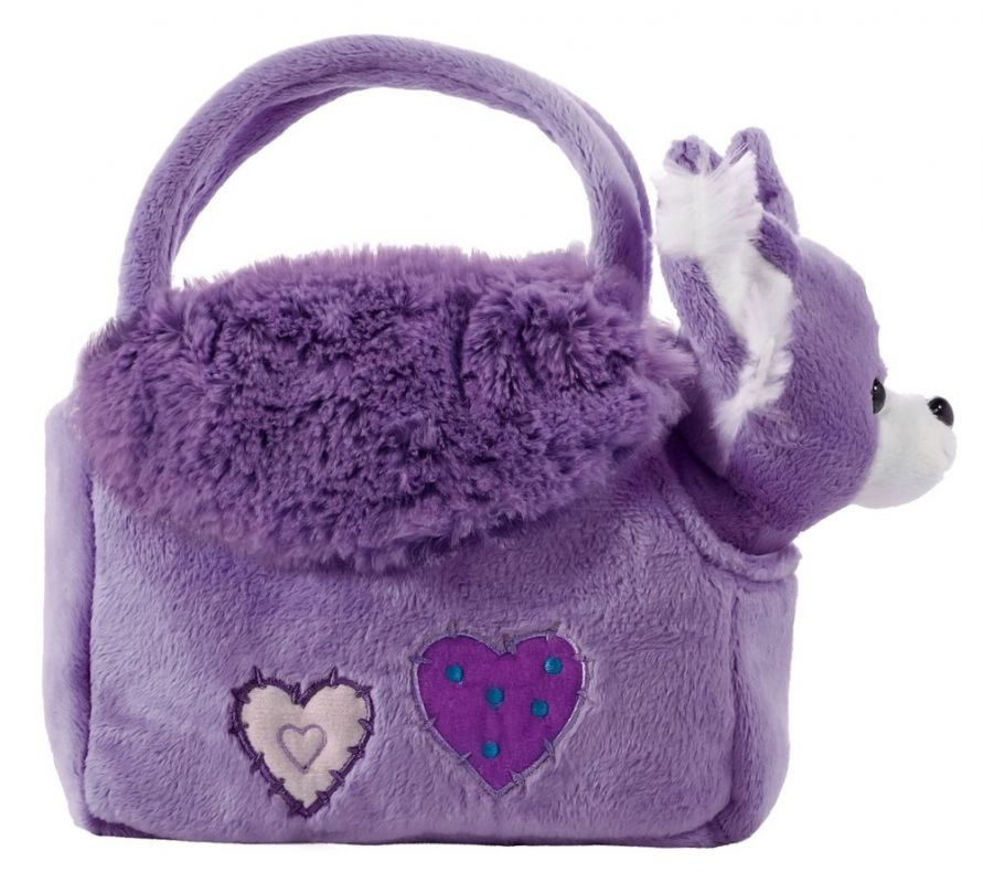 BEPPE - plyšová kabelka fialová s pejskem uvnitř 12825