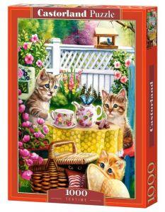 Puzzle Castorland  1000 dílků -  Kočičky - čas na čaj   103812