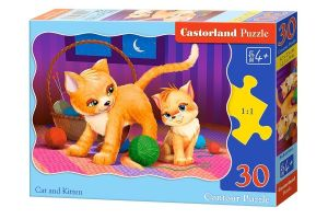 Puzzle Castorland  30 dílků  - Kočka s kotětem    03709