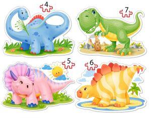Puzzle Castorland 4v1 = 4-7 dílků  Dinosauři  04386