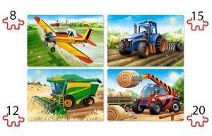 Puzzle Castorland 4v1 = 8-20 dílků  Zemědělské stroje   041039