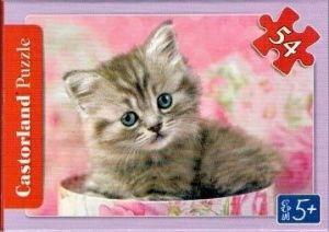 puzzle Castorland 54 dílků mini - kočky a pejsci - šedá kočička