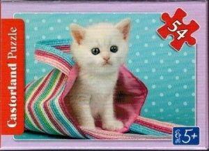 puzzle Castorland 54 dílků mini - kočky a pejsci - bílá kočička