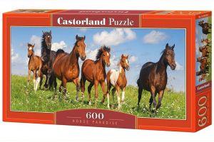 Puzzle Castorland 600 dílků panorama  - Koně na louce  060351